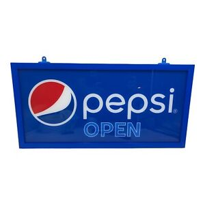 Pepsi Open Close Sign Led Light Up Double Sided Store Display Blue 24 X 12