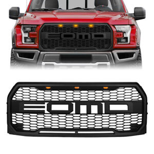 For 2015 2017 Ford F150 Front Grille Raptor Style Grill W Amber Lights Letters