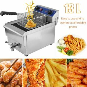 13l Commercial Restaurant Electric Deep Fryer W timer And Drain Stainless Steel