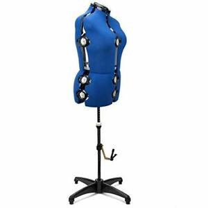 Blue 13 Dials Female Fabric Adjustable Mannequin Dress Form For Sewing