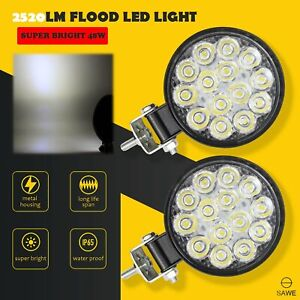 2 X Led Work Light Flood Spot Lights For Truck Off Road Tractor Atv Round 48w