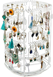 360 Rotating Earring Holder Stand Clear Acrylic Jewelry Organizer Display Rack