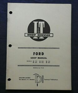 1983 Ford 1100 1200 1300 1500 1700 1900 Tractor I T Service Shop Manual