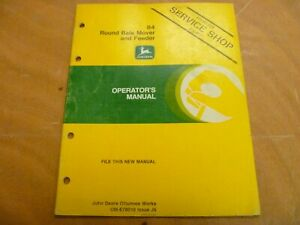 John Deere 84 Round Bale Mover Feeder Owner Operator Manual Ome78010