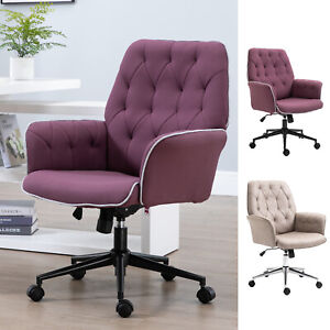 Modern Tufted Home Office Chair Executive Seat With Lumbar Support And Arms