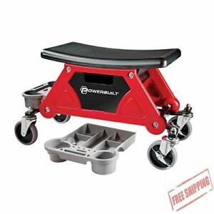 Powerbuilt Heavy Duty Roller Mechanics Seat And Brake Stool With 4 In 300 Lb