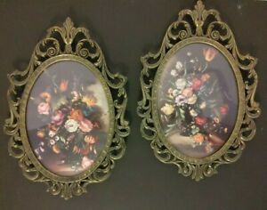 2 Vintage Floral Oval Pictures Brass Frames Bubble Glass Italy Art Victorian Set