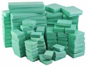 100pc Jewelry Gift Boxes Teal Cotton Filled Gift Boxes Assorted Size Boxes