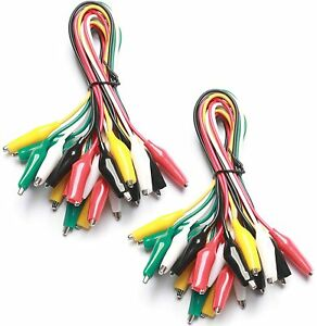 20pcs Crocodile Test Leads Clamps Wire With Aligator Clips Coloured Cable Wire