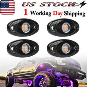4x Purple Led Rock Underbody Whieel Lights Off Road Truck Pods Underglow Light