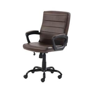 Mid Back Manager s Office Chair Stylish Bonded Leather Upholstery Brown