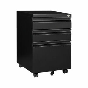 Metal Mobile File Cabinet With Lock Sliding 3 drawer Home Office Filing Cabinet