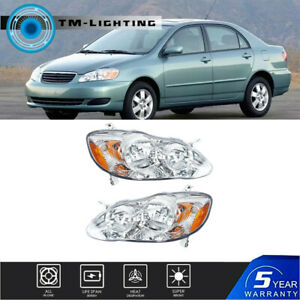 Chrome Headlights Leftright Fit For 2003 2008 Toyota Corolla Lhrh Replacement Fits 2004 Corolla