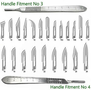 100 Sterile Surgical Blades With Free Scalpel Knife Handle Medical Dental Tools