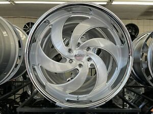 24 Strada Retro 6 Silver Ss Lip Wheels And Tires Full Package 6x139 7