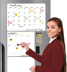 Set Of 3 Magnetic Planner For Fridge 1 Monthly And 1 Weekly Dry Erase Calendar