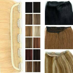 US Sale One Piece Clip In Remy Human Hair Extensions Hairpieces Black Brown $23.89