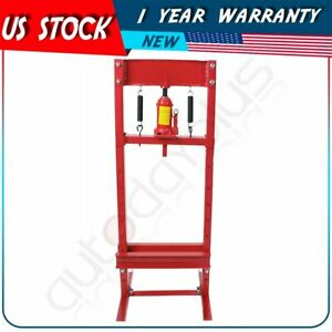 Hydraulic Jack Press Shop Equipment 12 Ton With Plates H Frame Red High Quality