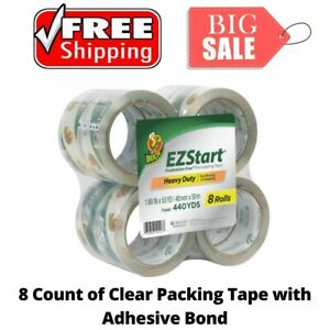 New Duck Ez Start Packing Tape 1 88 Inches X 54 6 Yards Clear 8 Pack Great Tape