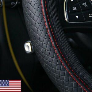 Pu Leather Car Steering Wheel Cover For Good Grip Auto Accessories 15 Black red