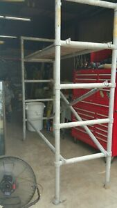 Sturdy All Aluminum Scaffolding Tower By Up right 7 Tall 6 Wide Scaffold