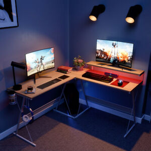 L shaped Computer Gaming Desk Pc Laptop Table Led Strips Home Office Workstation