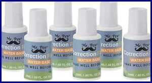 Mr Pen Correction Fluid Pack Of 6 Liquid White Eraser Foam Out Wipe Wide Tape