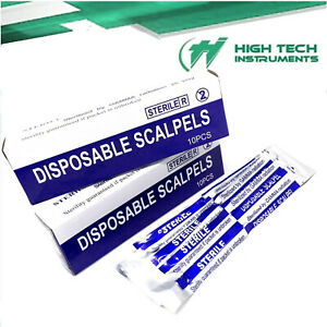 Disposable Scalpel Blades With Plastic Handle Box Of 10 Sterile Surgical