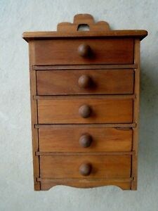 7 3 4 Vtg Handmade Wood Miniature Chest Of Drawers Doll Spice Cabinet Jewelry