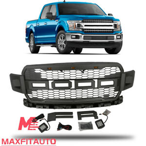 Fits Ford F150 2018 2019 Front Upper Grille Raptor Style With Side Led Lamp Grey