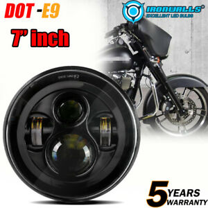 7inch Black Led Headlight Hilow Beam Fit For Harley Street Glide Softail Flhx