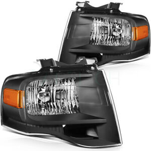 For 2007 2014 Ford Expedition Black Housing Headlights Assembly Headlamps Pair
