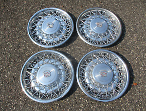 Factory 1974 To 1984 Cadillac Deville Fleetwood Wire Spoke Hubcaps Wheel Covers