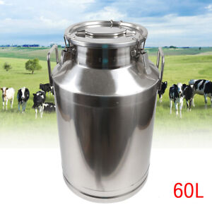 60l Milk Can Pail Heavy gauge Stainless Steel Bucket W silicone Seal Keep Fresh