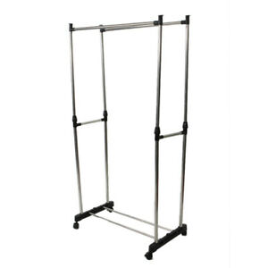 Dual bar Vertically stretching Stand Clothes Rack With Shoe Shelf Silver