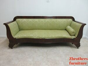 Antique Empire Flamed Mahogany Sofa Settee Couch Victorian