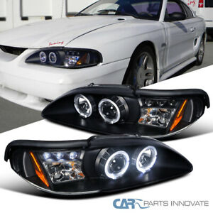 Fit Ford 94 98 Mustang Cobra Gt Black Led Halo Projector Headlights Head Lamps