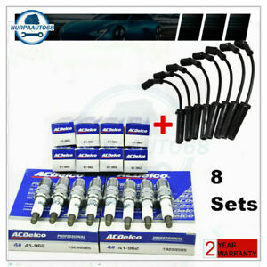 Set 8 9748hh Wires 41 962 Spark Plugs Set For Acdelco Chevy Gmc 4 8 5 3 6 0l