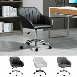 Mid back Office Chair Pu Leather Tub Swivel Task Armchair For Home