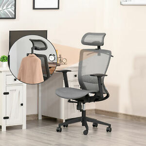 Tall Ergonomic Computer Desk Seat With Lumbar Support And Coat Hanger Grey
