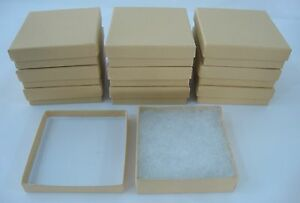 10 New 3 5 X 3 5 X 1 Jewelry Gift Boxes Cotton Filled Kraft Store Supplies