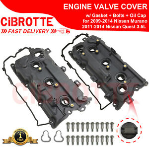 Valve Covers W Gasket Bolts Oil Cap For 2009 2014 Nissan Murano Quest 3 5l