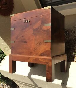 Outstanding Vintage Asian Burled Walnut W Brass Trunk Chest Nightstand