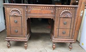 Antique Oak Kneehole Writing Desk Office Furniture Carved Wood With Drawers