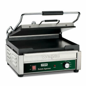 Waring Wfg250 Single Commercial Panini Press W Cast Iron Smooth Plates 120v