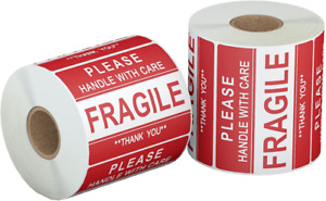 jinyapack fragile Stickers 2 Roll 1000 Labels 2 X 3 Handle With Care Thank
