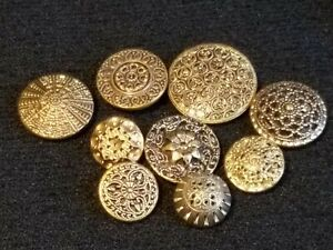 9 Antique Vintage Ornate Twinkle Mirror Back Buttons Lot 10b One Le Chic