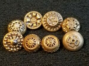 8 Small Antique Vintage Twinkle Mirror Back Collector Buttons Lot 8y