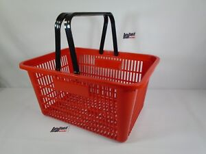 6 Qty New Red Plastic Shopping Basket Market Grocery Retail Store Supplies