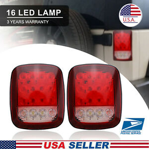 Truck Trailer Stud Mounts Stop Turn Tail Back Up Lights 16 Red white Us